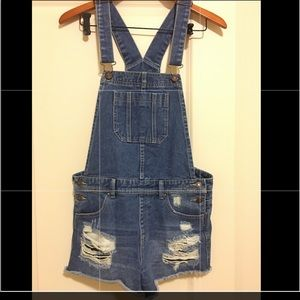 Overall shorts jean distressed